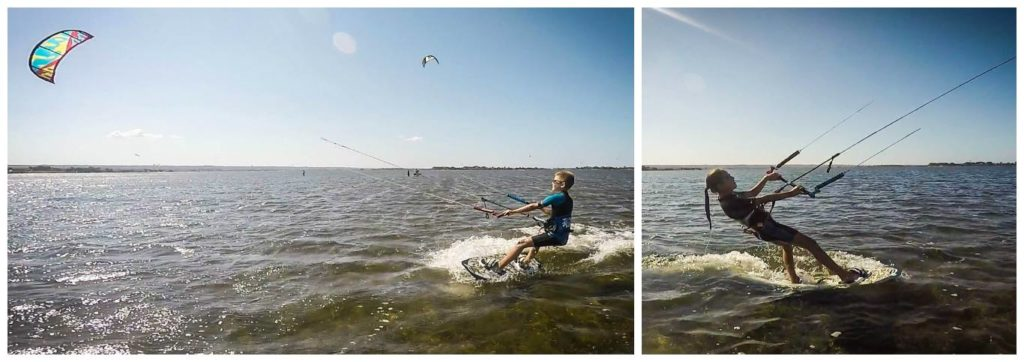 children learning kitesurfing