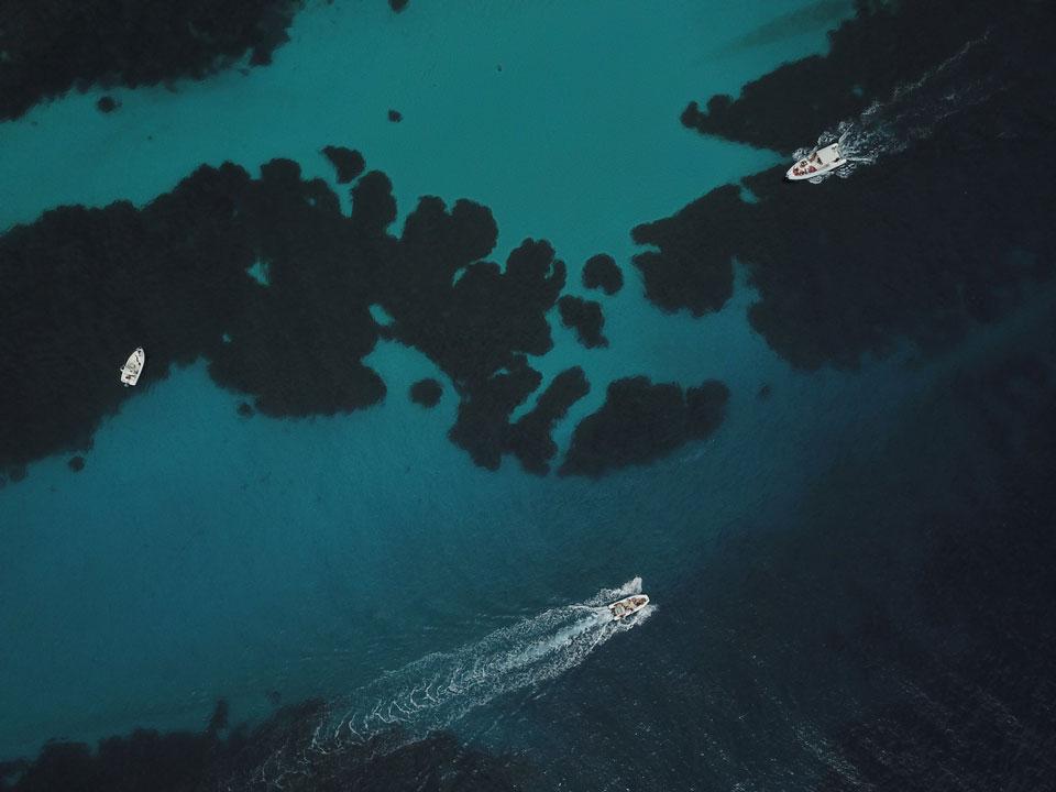 Drone shot of the Bay of Favignana