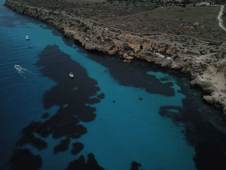 Drone shot of the Bay of Favignana